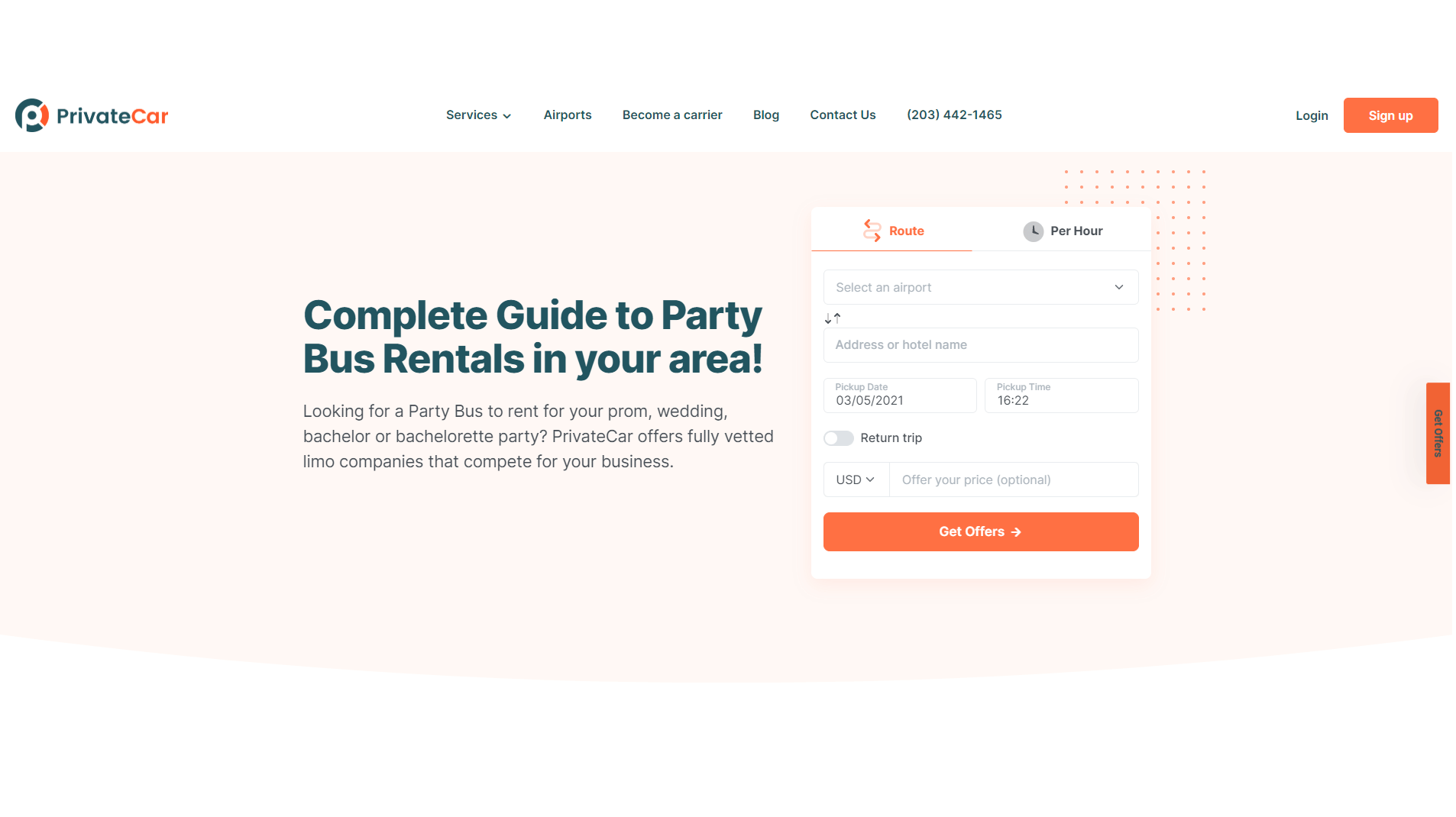 PrivateCar - Party bus availability