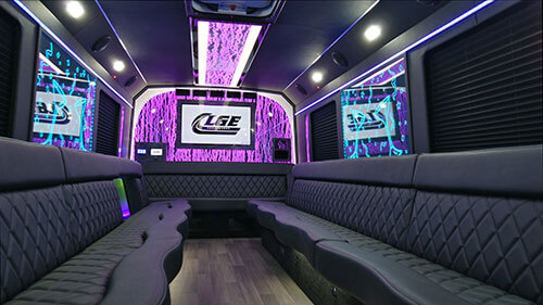 Inside of a 28 passenger party bus