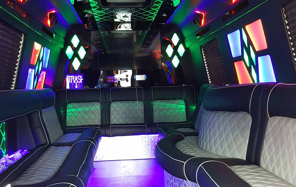Inside of a 23 passenger party bus